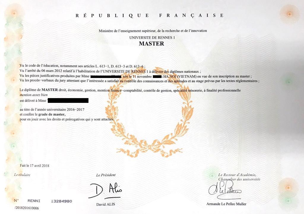 Mẫu văn bằng và kiểm định văn bằng chương trình Thạc sĩ Quản trị Tài chính Việt - Pháp trường ĐH Ngoại thương.